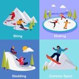 Ενεργός ακραίος αθλητισμός χειμερινών διακοπών απεικόνιση αποθεμάτων
