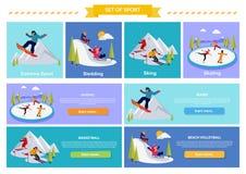 Ενεργός ακραίος αθλητισμός χειμερινών διακοπών διανυσματική απεικόνιση
