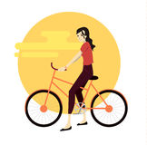 Ενεργός νεαρός άνδρας που οδηγά στο ποδήλατο ελεύθερη απεικόνιση δικαιώματος
