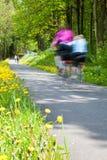 Ενεργός οικογένεια που απολαμβάνει το γύρο ποδηλάτων στη χώρα Στοκ φωτογραφίες με δικαίωμα ελεύθερης χρήσης