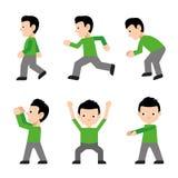 Ενεργό ικανότητας χαρακτήρα δράσης άλματος τρεξίματος περιπάτων ατόμων άσκησης διάνυσμα πλάγιας όψης κινούμενων σχεδίων αθλητικού ελεύθερη απεικόνιση δικαιώματος
