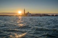 Ενετική λιμνοθάλασσα στην ανατολή Στοκ Φωτογραφίες