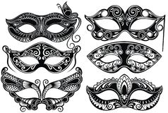 Ενετική συλλογή μασκών προσώπου καρναβαλιού για το κόμμα απεικόνιση αποθεμάτων