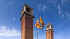 Ενετικοί πύργοι Placa de Espana - τη Βαρκελώνη Στοκ Φωτογραφία