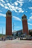 Ενετικοί πύργοι, Plaza de Espana, Βαρκελώνη, Ισπανία Στοκ εικόνες με δικαίωμα ελεύθερης χρήσης