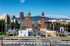 Ενετικοί πύργοι, Plaza de Espana, Βαρκελώνη, Ισπανία Στοκ φωτογραφίες με δικαίωμα ελεύθερης χρήσης