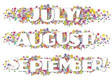 Ενημερωτικό δελτίο διακοσμητικός Ιούλιος Αύγουστος Σεπτέμβριος ημερολογιακών μηνών ελεύθερη απεικόνιση δικαιώματος