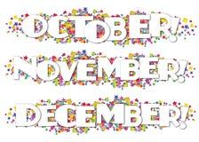 Ενημερωτικό δελτίο διακοσμητικός Οκτώβριος Νοέμβριος Δεκέμβριος ημερολογιακών μηνών απεικόνιση αποθεμάτων