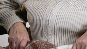 Ενθαρρυντική νέα κυρία που καλύπτει την ευτυχή ηλικιωμένη γιαγιά με το θερμό καρό, οικογενειακή προσοχή απόθεμα βίντεο