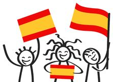 Ενθαρρυντική ομάδα τριών ευτυχών αριθμών ραβδιών με τις ισπανικές εθνικές σημαίες, χαμογελώντας υποστηρικτές της Ισπανίας, αθλητι απεικόνιση αποθεμάτων