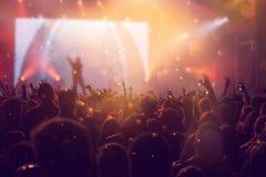 Ενθαρρυντικό πλήθος σε μια συναυλία Στοκ εικόνες με δικαίωμα ελεύθερης χρήσης