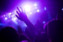 Ενθαρρυντικό πλήθος στη συναυλία που απολαμβάνει την απόδοση μουσικής στοκ εικόνα