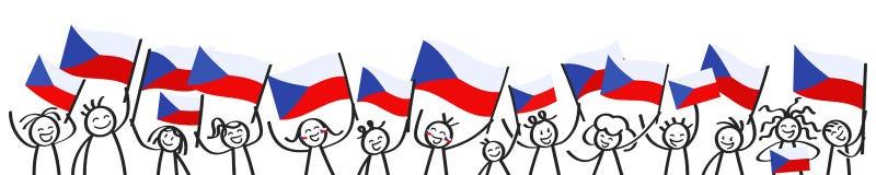 Ενθαρρυντικό πλήθος των ευτυχών αριθμών ραβδιών με τις τσεχικές εθνικές σημαίες, χαμογελώντας υποστηρικτές Δημοκρατίας της Τσεχία απεικόνιση αποθεμάτων