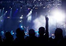 Ενθαρρυντικό πλήθος στη συναυλία Στοκ εικόνες με δικαίωμα ελεύθερης χρήσης
