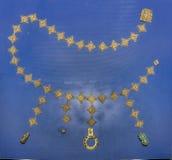 Ενθεμένη λεπτομέρειες ζώνη 1$ος αιώνας Π.Χ. Χρυσός, τυρκουάζ, κοράλλι, bron Στοκ φωτογραφίες με δικαίωμα ελεύθερης χρήσης