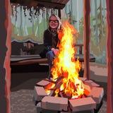 Ενθουσιώδες κορίτσι με τα γυαλιά που κάθεται μια φωτιά απεικόνιση αποθεμάτων