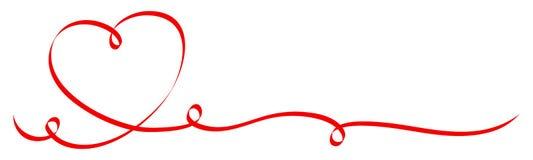 Ενιαία κόκκινη καρδιά καλλιγραφίας με την κορδέλλα τριών στροβίλων ελεύθερη απεικόνιση δικαιώματος