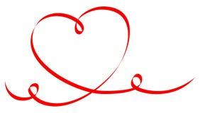 Ενιαία μεγάλη κόκκινη καλλιγραφία καρδιών δύο στρόβιλοι διανυσματική απεικόνιση