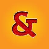 Ενιαία πηγή χαρακτήρα & ampersand σημαδιών στο πορτοκαλί και κίτρινο αλφάβητο χρώματος απεικόνιση αποθεμάτων