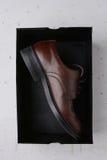 Ενιαίο καφετί παπούτσι στο μαύρο κουτί Στοκ εικόνες με δικαίωμα ελεύθερης χρήσης