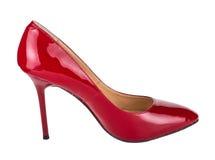 Ενιαίο κόκκινο παπούτσι γυναικών που απομονώνεται στο λευκό Στοκ Εικόνα