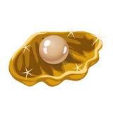 Ενιαίο μπεζ μαργαριτάρι σε ένα χρυσό κοχύλι απεικόνιση αποθεμάτων