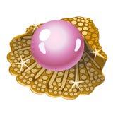 Ενιαίο ρόδινο μαργαριτάρι σε ένα χρυσό κοχύλι ελεύθερη απεικόνιση δικαιώματος