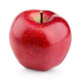 Ενιαίο φρέσκο κόκκινο μήλο με το μίσχο που απομονώνεται στο λευκό Στοκ Εικόνες