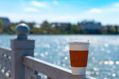 Ενιαίο φλυτζάνι καφέ στο φράκτη Στοκ Φωτογραφίες