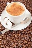 Ενιαίο φλυτζάνι του cappuccino που περιβάλλεται από τα φασόλια καφέ Στοκ φωτογραφία με δικαίωμα ελεύθερης χρήσης