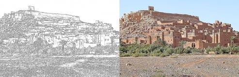 Ενισχυμένη το Μαρόκο πόλη Ait Benhaddou του σχεδίου ελεύθερη απεικόνιση δικαιώματος