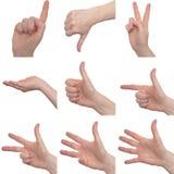 Εννέα θηλυκά σημάδια χεριών Στοκ φωτογραφία με δικαίωμα ελεύθερης χρήσης