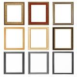 εννέα ξύλινα πλαίσια που απομονώνονται στο λευκό Στοκ Εικόνες