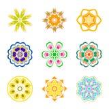Εννέα σχέδια χρώματος ακτινωτά Στοκ εικόνα με δικαίωμα ελεύθερης χρήσης