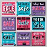 Εννέα τετραγωνικά εμβλήματα με την προσφορά πώλησης, διάνυσμα Στοκ Φωτογραφίες