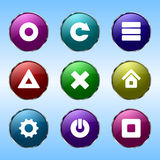 Εννέα χρωματισμένα κουμπιά για τις περιοχές απεικόνιση αποθεμάτων