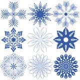 Εννέα snowflakes Στοκ Φωτογραφία