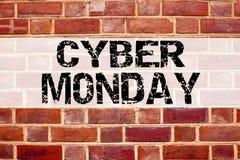 Εννοιολογική έμπνευση τίτλων κειμένων ανακοίνωσης που παρουσιάζει Δευτέρα Cyber Επιχειρησιακή έννοια για την έκπτωση λιανικών κατ Στοκ Φωτογραφία