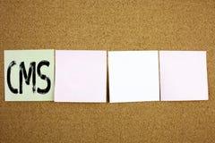 Εννοιολογική έμπνευση τίτλων κειμένων γραψίματος χεριών που παρουσιάζει επιχειρησιακή έννοια CMS για CMS WWW στο ζωηρόχρωμο κολλώ Στοκ εικόνες με δικαίωμα ελεύθερης χρήσης