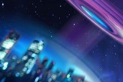 Εννοιολογική απεικόνιση ενός πετώντας πιατακιού ή ενός UFO που πετά πέρα από τη γη και που κατευθύνει την ακτίνα του Εξωγήινος στοκ εικόνες με δικαίωμα ελεύθερης χρήσης