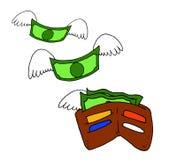 Εννοιολογική απεικόνιση ενός χαρτοφυλακίου από το οποίο η μύγα χρημάτων μακριά ελεύθερη απεικόνιση δικαιώματος
