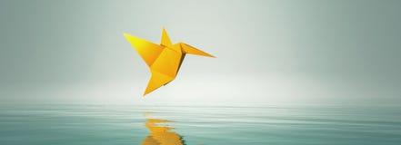 Εννοιολογική εικόνα με το πουλί μυγών origami ελεύθερη απεικόνιση δικαιώματος