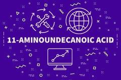 Εννοιολογική επιχειρησιακή απεικόνιση με τις λέξεις 11 aminoundecano απεικόνιση αποθεμάτων
