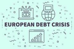 Εννοιολογική επιχειρησιακή απεικόνιση με το ευρωπαϊκό χρώμιο χρέους λέξεων ελεύθερη απεικόνιση δικαιώματος