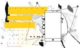Εννοιολογικό κινητό τηλεφωνικό έμβλημα, βιβλιάριο, φυλλάδιο διανυσματική απεικόνιση