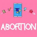 Εννοιολογικό χέρι που γράφει παρουσιάζοντας άμβλωση Σκόπιμη λήξη κειμένων επιχειρησιακών φωτογραφιών ενός θανάτου εγκυμοσύνης hua απεικόνιση αποθεμάτων