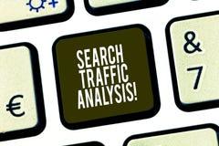 Εννοιολογικό χέρι που γράφει παρουσιάζοντας ανάλυση κυκλοφορίας αναζήτησης Λογισμικό ελέγχου εύρους ζώνης δικτύων επίδειξης επιχε στοκ φωτογραφίες