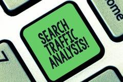 Εννοιολογικό χέρι που γράφει παρουσιάζοντας ανάλυση κυκλοφορίας αναζήτησης Λογισμικό ελέγχου εύρους ζώνης δικτύων κειμένων επιχει στοκ φωτογραφίες