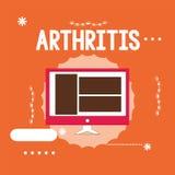 Εννοιολογικό χέρι που γράφει παρουσιάζοντας αρθρίτιδα Ασθένεια επίδειξης επιχειρησιακών φωτογραφιών που προκαλεί την επίπονες ανά διανυσματική απεικόνιση
