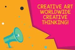 Εννοιολογικό χέρι που γράφει παρουσιάζοντας δημιουργική τέχνη παγκοσμίως δημιουργική σκέψη Σφαιρικό σύγχρονο σχέδιο δημιουργικότη στοκ φωτογραφίες